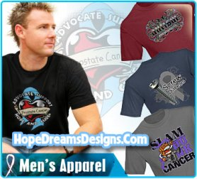 Men, take a stand for your cause with cool cancer gear from HopeDreamsDesigns.Com