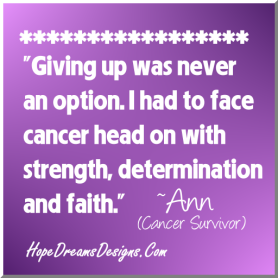 Giving Up Was Never An Option - Cancer Survivor Quote